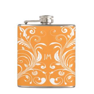 Girly monogram orange floral PERSONALIZE Hip Flask
