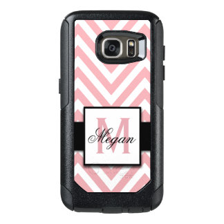 GIRLY, PERSONALIZED CORAL PINK CHEVRON PATTERN OtterBox SAMSUNG GALAXY S7 CASE