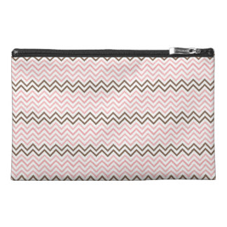 Girly Pink and Brown Chevron Travel Accessory Bag