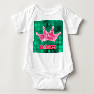 Girly Pink and Green Glitter Princess and Tiara Baby Bodysuit