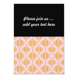 Girly Pink and Orange Damask Pattern 13 Cm X 18 Cm Invitation Card