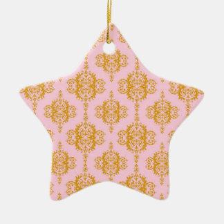 Girly Pink and Orange Damask Pattern Ceramic Star Decoration
