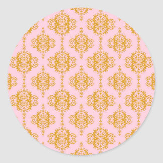 Girly Pink and Orange Damask Pattern Round Sticker