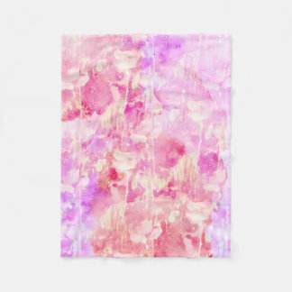 Girly Pink and Purple Painted Sparkly Watercolor Fleece Blanket