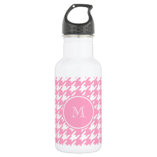 Girly Pink and White Houndstooth Your Monogram 532 Ml Water Bottle