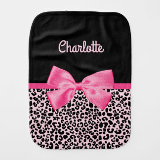 Girly Pink Black Leopard Print Cute Bow Baby Name Baby Burp Cloths