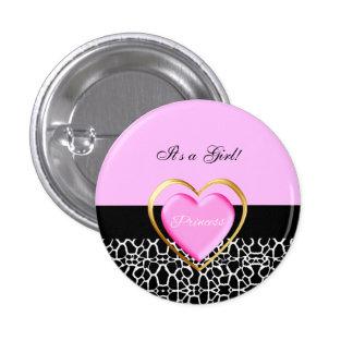 Girly Pink Black Princess Giraffe Print and Name Pin