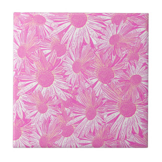 Girly pink daisies tile