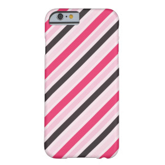 Girly Pink Diagonal Pinstripes Barely There iPhone 6 Case