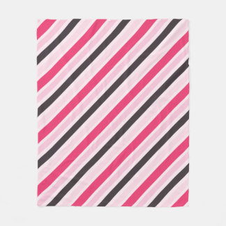 Girly Pink Diagonal Pinstripes Fleece Blanket