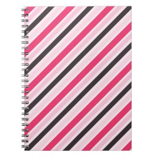 Girly Pink Diagonal Pinstripes Note Book