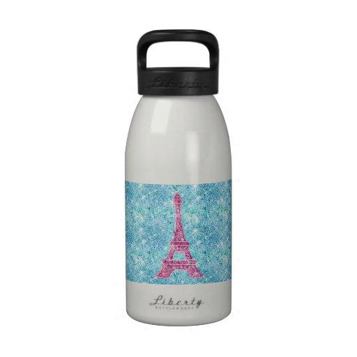 Girly Pink Eiffel Tower Trendy Teal Glitter Photo Drinking Bottle