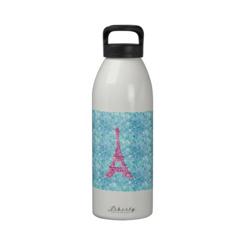 Girly Pink Eiffel Tower Trendy Teal Glitter Photo Reusable Water Bottles