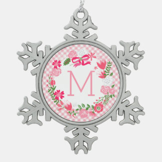 Girly Pink Floral Wreath Personalized Monogram Snowflake Pewter Christmas Ornament