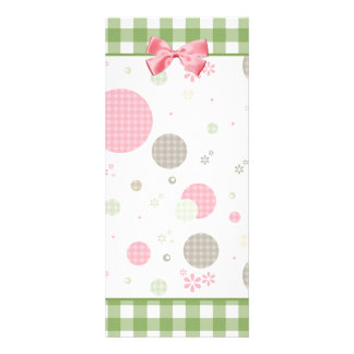 Girly Pink Gingham Pattern Circles Cute Daisies Personalised Rack Card