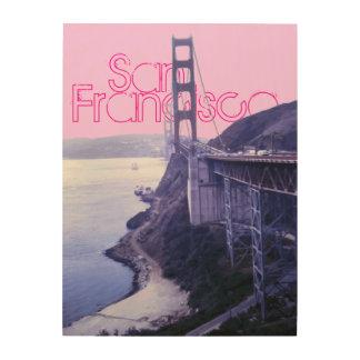 Girly Pink Golden Gate Bridge San Francisco Wood Canvas