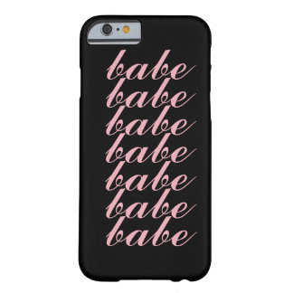 "Girly Pink Minimal ""Babe"" Love Barely There iPhone 6 Case"