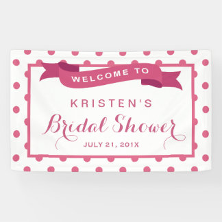Girly Pink Polka Dots Ribbon Bridal Shower Banner