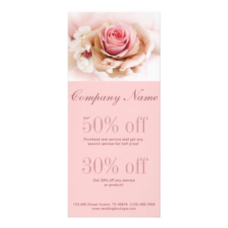 girly pink rose wedding florist business customized rack card