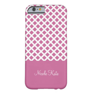 Girly Pink square grid Monogram Barely There iPhone 6 Case