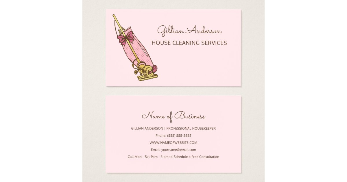 Girly Pink Vacuum Cleaner House Cleaning Services Business Card ...