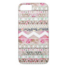 Girly Pink White Floral Abstract Aztec Pattern iPhone 8/7 Case