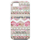 Girly Pink White Floral Abstract Aztec Pattern Tough iPhone 5 Case