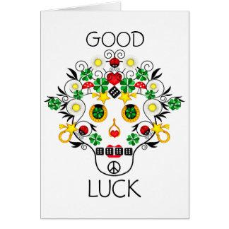Girly Pirate Lucky Skull Card