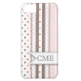 Girly Polkadot Ribbons with Monogram Pink | Brown iPhone 5C Case