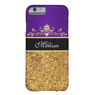 Girly Purple Black Gold Glitter iPhone 6 Case