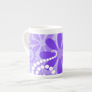 Girly Purple Floral Retro Flowers Tea Cup