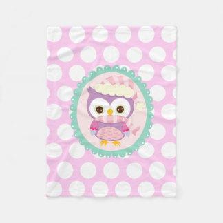 Girly Purple Owl Winter Light Purple Polka Dots Fleece Blanket