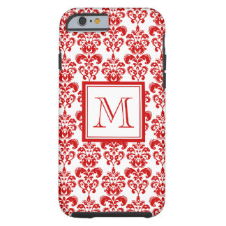 GIRLY RED DAMASK PATTERN 2 YOUR INITIAL TOUGH iPhone 6 CASE