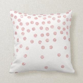 girly rose gold glitter confetti polka dots cushion