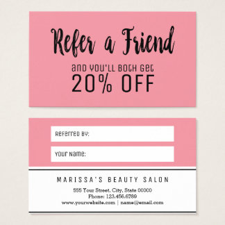 Girly Rose Pink Referral Card
