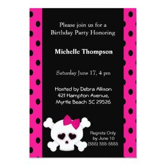 Girly  Skull Pink  Birthday Invitations