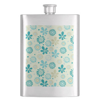 Girly Stylish Teal Blue Daisy Floral Pattern Hip Flask
