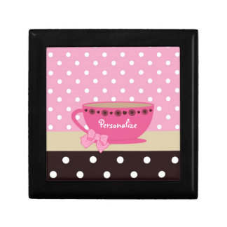 Girly Teacup Pink and Brown Polka Dot Bow and Name Gift Box