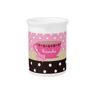 Girly Teacup Pink and Brown Polka Dot Bow and Name Pitcher