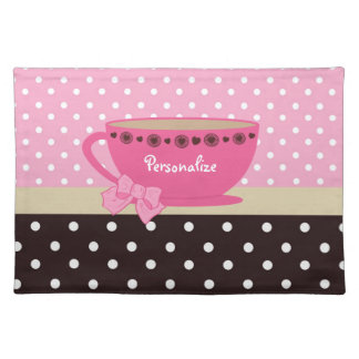 Girly Teacup Pink and Brown Polka Dot Bow and Name Placemat