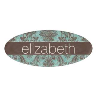 Girly Teal Brown Grungy Damask with Name