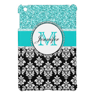 Girly, Teal, Glitter Black Damask Personalized iPad Mini Cover