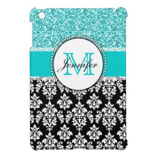 Girly, Teal, Glitter Black Damask Personalized iPad Mini Cover