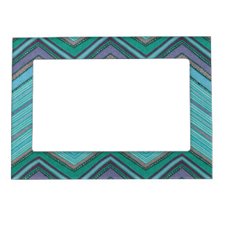 Girly Teal Purple Zig Zag Pattern Magnetic Picture Frame