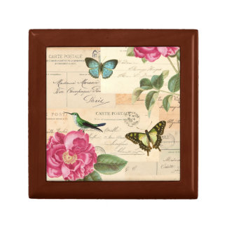 Girly vintage box with roses and butterflies