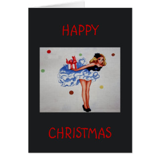 Girly Vintage Fabric Happy Christmas Card
