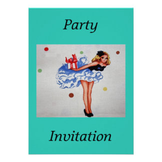 Girly Vintage Fabric Party Invitation