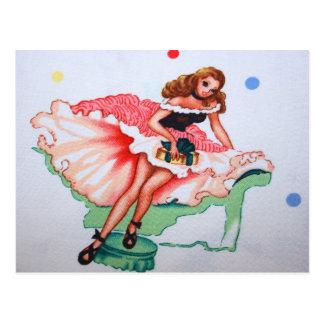 Girly Vintage Fabric Postcard