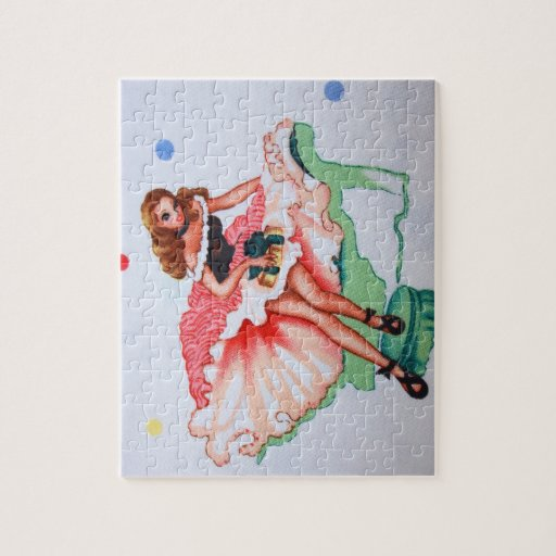 Girly Vintage Fabric Puzzle with Tin