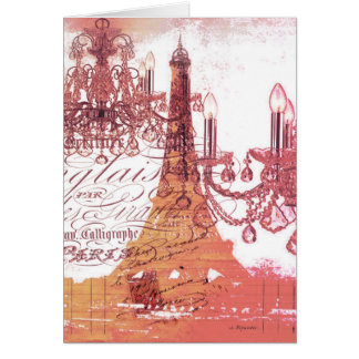 girly vintage French chandelier girly eiffel tower Card